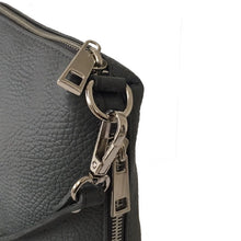 A-SHU SMALL DARK GREY GENUINE ITALIAN LEATHER SHOULDER HANDBAG WITH CROSS BODY STRAP - A-SHU.CO.UK