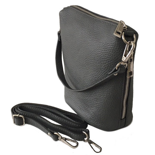 SMALL DARK GREY GENUINE ITALIAN LEATHER SHOULDER HANDBAG WITH CROSS BODY STRAP
