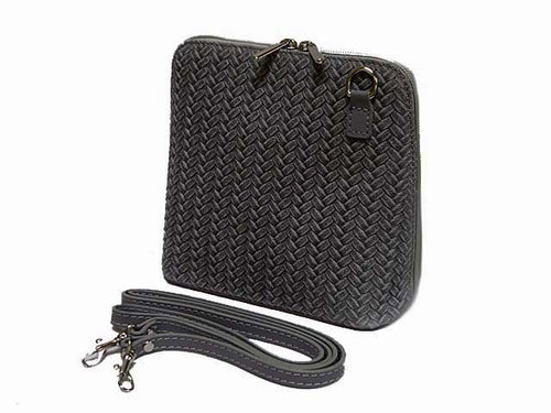 SMALL DARK GREY GENUINE LEATHER WOVEN BAG WITH LONG SHOULDER STRAP