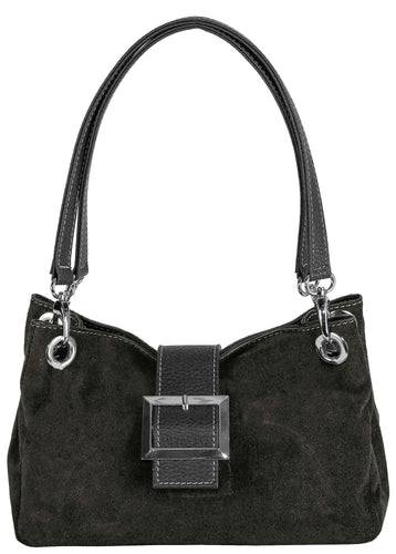 SMALL DARK GREY GENUINE SUEDE MULTI POCKET HANDBAG WITH BUCKLE