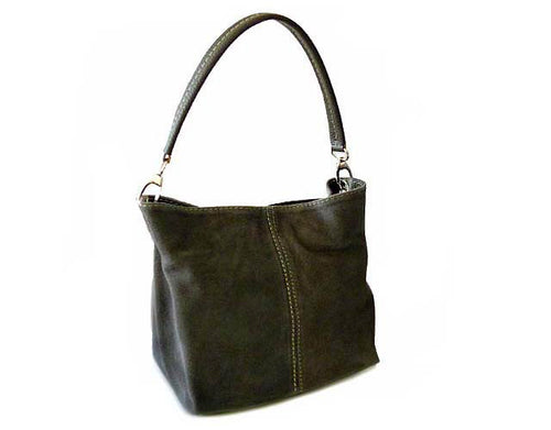 A-SHU SMALL GREY GENUINE SUEDE MULTI POCKET LIGHTWEIGHT HANDBAG - A-SHU.CO.UK