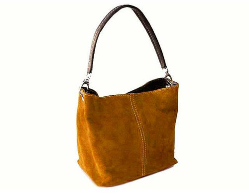 SMALL MUSTARD YELLOW GENUINE SUEDE MULTI POCKET LIGHTWEIGHT HANDBAG