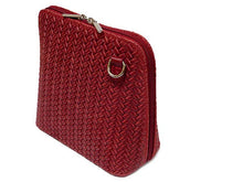 A-SHU SMALL DEEP RED GENUINE LEATHER WOVEN BAG WITH LONG SHOULDER STRAP - A-SHU.CO.UK