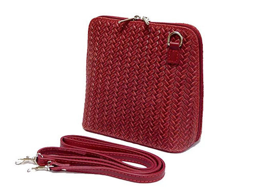 SMALL DEEP RED GENUINE LEATHER WOVEN BAG WITH LONG SHOULDER STRAP