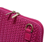 A-SHU SMALL FUSHCIA PINK GENUINE LEATHER WOVEN BAG WITH LONG SHOULDER STRAP - A-SHU.CO.UK