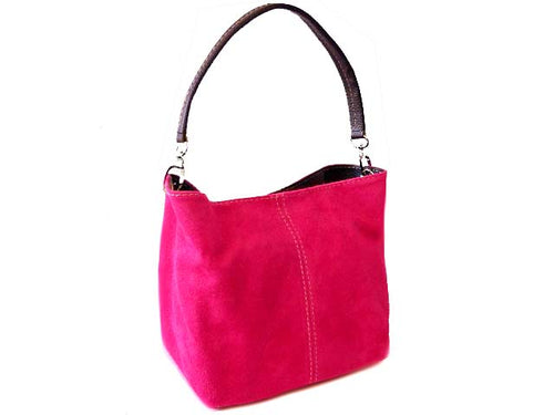 A-SHU SMALL FUCHSIA PINK GENUINE SUEDE MULTI POCKET LIGHTWEIGHT HANDBAG - A-SHU.CO.UK