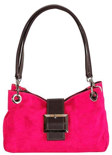 SMALL FUSCHIA PINK GENUINE SUEDE MULTI POCKET HANDBAG WITH BUCKLE