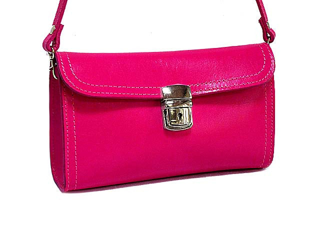 ORDER BY REQUEST - SMALL FUSHCIA PINK GENUINE LEATHER CLUTCH BAG / SHOULDER BAG WITH LONG STRAP
