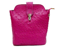 SMALL FUSHCIA PINK GENUINE OSTRICH LEATHER BAG WITH LONG SHOULDER STRAP