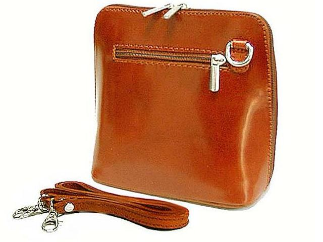SMALL LIGHT TAN GENUINE LEATHER BAG WITH LONG SHOULDER STRAP