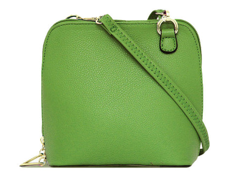 SMALL GREEN PLAIN CROSS BODY BAG WITH LONG OVER SHOULDER STRAP