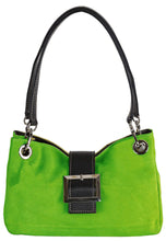 SMALL GREEN GENUINE SUEDE MULTI POCKET HANDBAG WITH BUCKLE