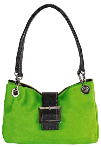 A-SHU SMALL GREEN GENUINE SUEDE MULTI POCKET HANDBAG WITH BUCKLE - A-SHU.CO.UK