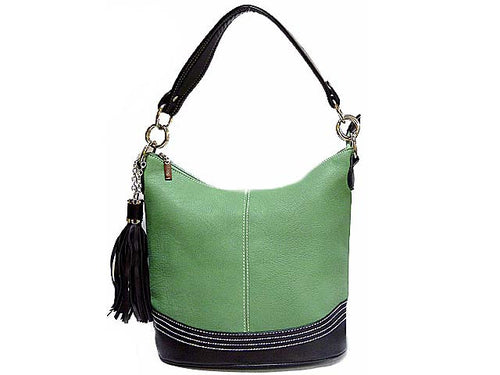 A-SHU SMALL GREEN LEATHER EFFECT TASSEL HANDBAG WITH LONG SHOULDER STRAP - A-SHU.CO.UK