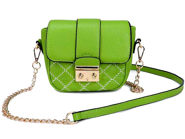 SMALL GREEN QUILTED CROSS BODY SHOULDER BAG / CLUTCH BAG WITH LONG CHAIN STRAP