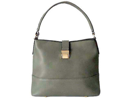 SMALL GREY COMPACT SINGLE STRAP HANDBAG WITH LONG CROSS BODY STRAP