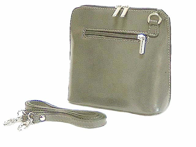 SMALL GREY GENUINE LEATHER BAG WITH LONG SHOULDER STRAP