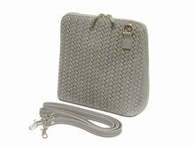 SMALL GREY GENUINE LEATHER WOVEN BAG WITH LONG SHOULDER STRAP
