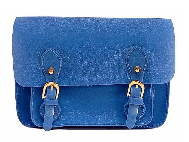 SMALL JELLY SATCHEL HANDBAG WITH LONG SHOULDER STRAP - BLUE
