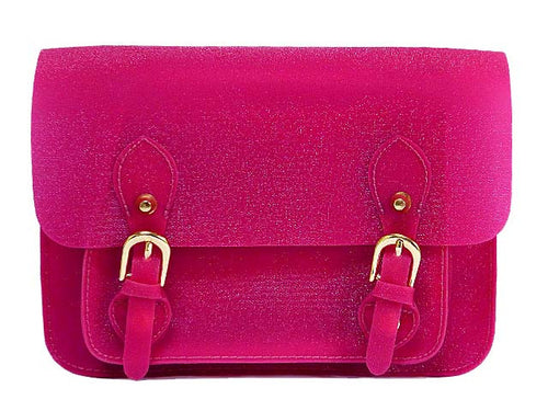 SMALL JELLY SATCHEL HANDBAG WITH LONG SHOULDER STRAP - FUSHCIA