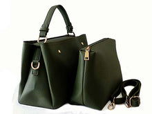 SMALL KHAKI GREEN 2 PIECE HOLDALL HANDBAG SET WITH DETACHABLE INNER BAG AND LONG STRAP