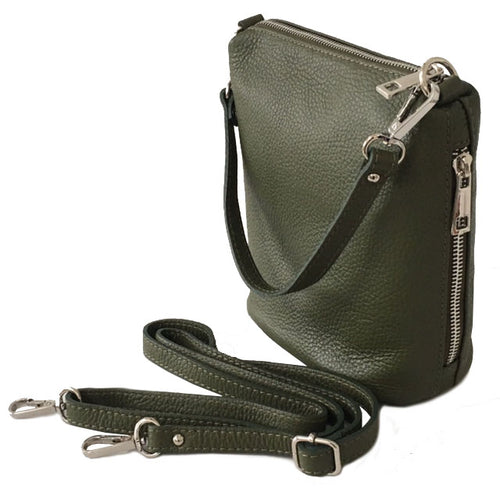 SMALL KHAKI GREEN GENUINE ITALIAN LEATHER SHOULDER HANDBAG WITH CROSS BODY STRAP