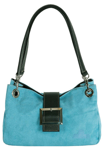 SMALL LIGHT BLUE GENUINE SUEDE MULTI POCKET HANDBAG WITH BUCKLE