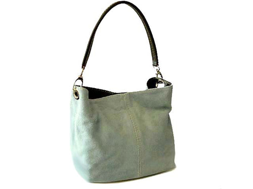A-SHU SMALL LIGHT BLUE GENUINE SUEDE MULTI POCKET LIGHTWEIGHT HANDBAG - A-SHU.CO.UK