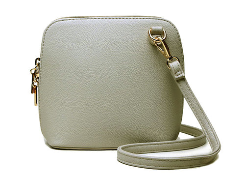 SMALL LIGHT GREY PLAIN CROSS BODY BAG WITH LONG OVER SHOULDER STRAP