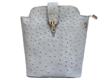 ORDER BY REQUEST - SMALL LIGHT GREY GENUINE OSTRICH LEATHER BAG WITH LONG SHOULDER STRAP