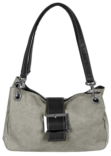SMALL LIGHT GREY GENUINE SUEDE MULTI POCKET HANDBAG WITH BUCKLE