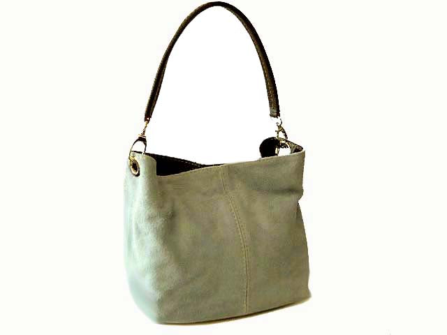 A-SHU SMALL LIGHT GREY GENUINE SUEDE MULTI POCKET LIGHTWEIGHT HANDBAG - A-SHU.CO.UK