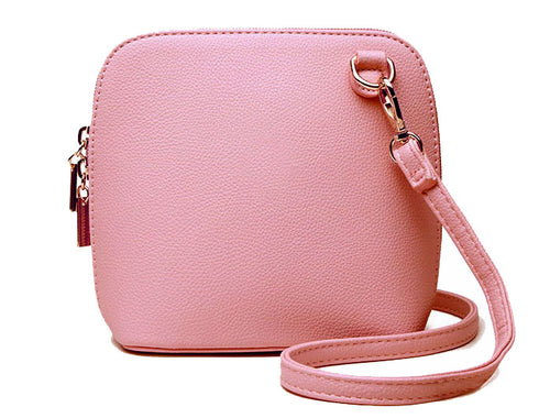 SMALL LIGHT PINK PLAIN CROSS BODY BAG WITH LONG OVER SHOULDER STRAP