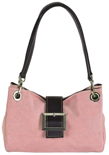 A-SHU SMALL LIGHT PINK GENUINE SUEDE MULTI POCKET HANDBAG WITH BUCKLE - A-SHU.CO.UK