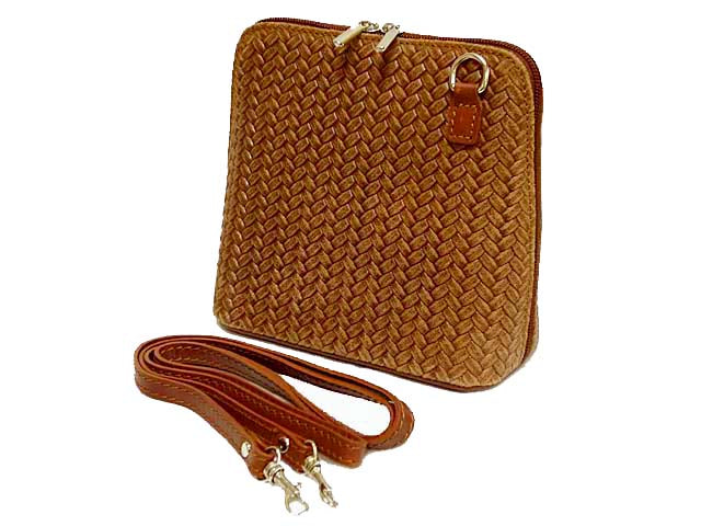 SMALL LIGHT TAN GENUINE LEATHER WOVEN BAG WITH LONG SHOULDER STRAP