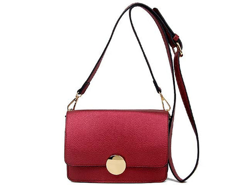A-SHU SMALL MAROON LEATHER EFFECT DOUBLE SIDED CROSS-BODY SHOULDER BAG - A-SHU.CO.UK