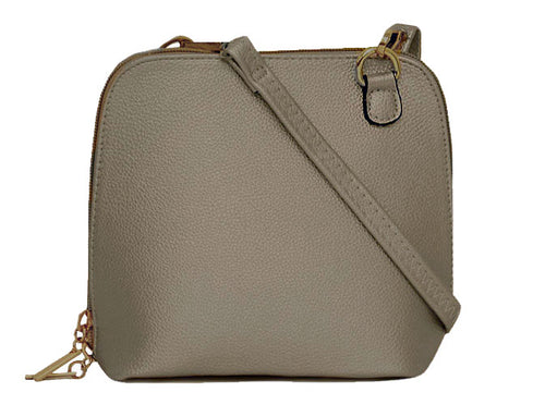 SMALL METALLIC PEWTER PLAIN CROSS BODY BAG WITH LONG OVER SHOULDER STRAP