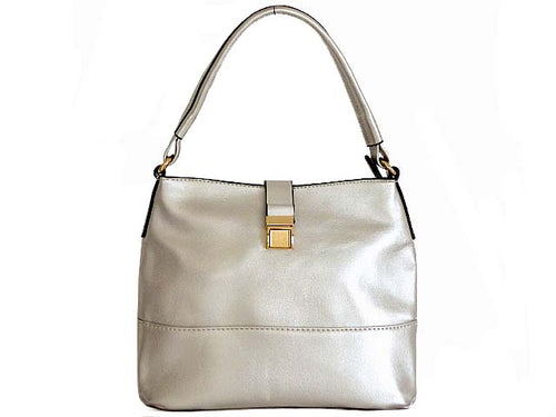 SMALL METALLIC SILVER COMPACT SINGLE STRAP HANDBAG WITH LONG CROSS BODY STRAP