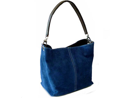A-SHU SMALL MID BLUE GENUINE SUEDE MULTI POCKET LIGHTWEIGHT HANDBAG - A-SHU.CO.UK
