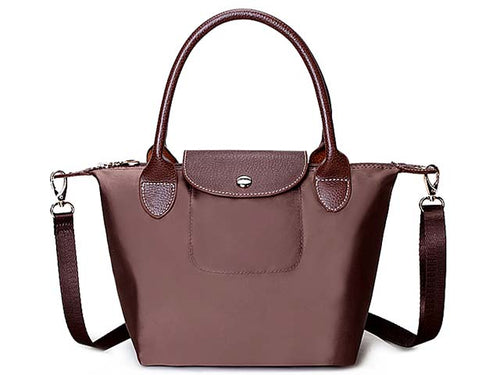 SMALL MID BROWN PART GENUINE LEATHER FOLD-AWAY CROSSBODY HANDBAG WITH STRAP