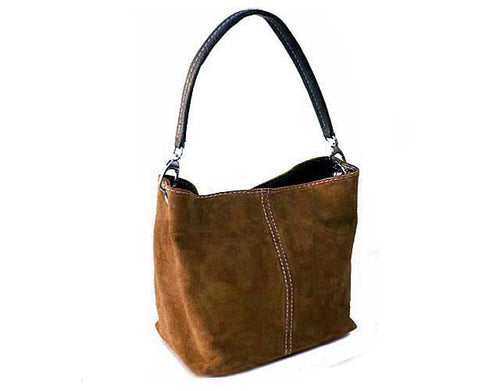 SMALL MOCHA BROWN GENUINE SUEDE MULTI POCKET LIGHTWEIGHT HANDBAG