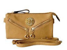 SMALL MULTI-COMPARTMENT CROSS-BODY PURSE BAG WITH LONG SHOULDER STRAP - BEIGE
