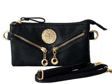 A-SHU SMALL MULTI-COMPARTMENT CROSS-BODY PURSE BAG WITH LONG SHOULDER STRAP - BLACK - A-SHU.CO.UK