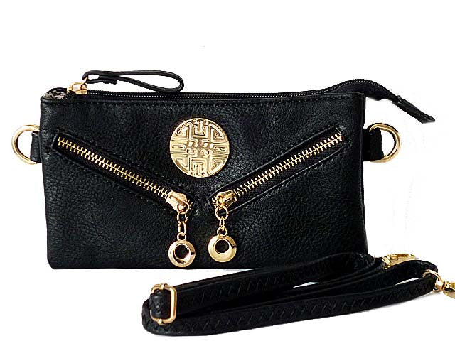SMALL MULTI-COMPARTMENT CROSS-BODY PURSE BAG WITH LONG SHOULDER STRAP - BLACK