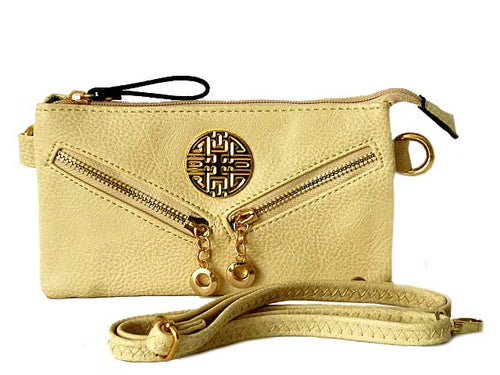 SMALL MULTI-COMPARTMENT CROSS-BODY PURSE BAG WITH LONG SHOULDER STRAP - CREAM