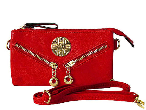 SMALL MULTI-COMPARTMENT CROSS-BODY PURSE BAG WITH LONG SHOULDER STRAP - RED