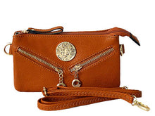 A-SHU SMALL MULTI-COMPARTMENT CROSS-BODY PURSE BAG WITH LONG SHOULDER STRAP - TAN - A-SHU.CO.UK