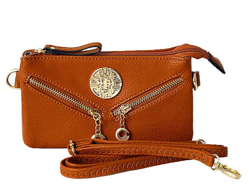 SMALL MULTI-COMPARTMENT CROSS-BODY PURSE BAG WITH LONG SHOULDER STRAP - TAN