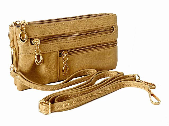 SMALL MULTI-COMPARTMENT CROSS-BODY PURSE BAG WITH WRIST AND LONG STRAPS - BEIGE