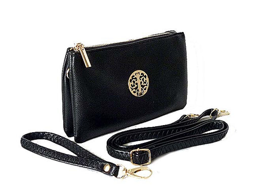 A-SHU SMALL MULTI-COMPARTMENT CROSS-BODY PURSE BAG WITH WRIST AND LONG STRAPS - BLACK - A-SHU.CO.UK
